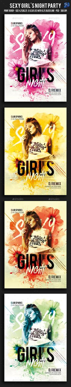 Sexy Girl's Night Party Flyer Template PSD