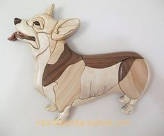 Welsh Corgi Intarsia Patterns, Intarsia Woodworking, Scroll Saw, Wood Sculpture, Dog Art, Wood Carving, Etsy, Statue, Quilts