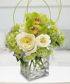 Hydrangia, roses and cymbidium orchids come together to make this a wonderful and attractive St. Patricks Day floral arrangement.