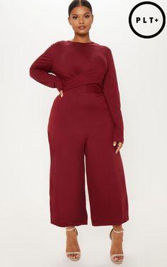 b5a7571fe9 Plus Burgundy Twist Front Culotte Jumpsuit. Two Piece ...
