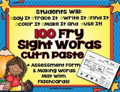 100 of the first FRY Sight Word Cut and Paste Practice Pages 100 FRY Sight Word List Printables With Extra Activities For All ELA CC Aligned by Pam D'Alessandro