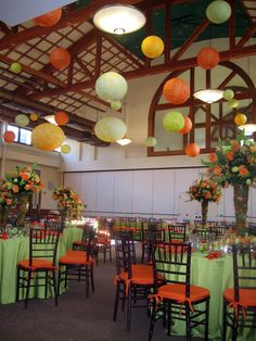 Multicolor paper lanterns hanging from a high ceiling. Image courtesy of Jennifer Hershey.