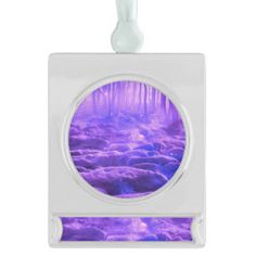 Forest Clearing Silver Plated Banner Ornament