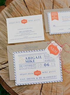 a little pop of #orange in these #invitations for an October affair | Photography by http://lavenderandtwine.com  Read more - http://www.stylemepretty.com/2013/10/15/ojai-garden-wedding-from-lavender-twine/