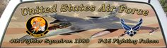 US Air Force 1980s 4th Fighter Squadron Truck Window Mural Graphic.