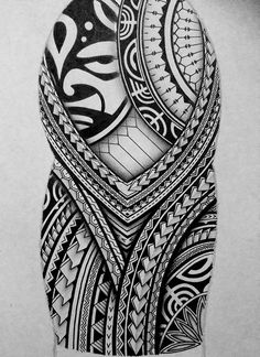 I created a Polynesian half sleeve tattoo design for my brother, displaying many of the typical patterns shown in Polynesian art. This is a very detailed freehand piece, completed only in black pen and pencil. #polynesiantattoossleeve