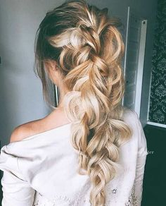 Soft Messy Bridal Braid Ponytail