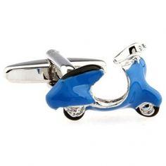 Silver blue motor bike cufflinks cu603082 USD $4.99
