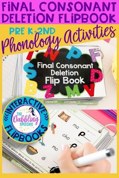 Work on remediating the phonological process of final consonant deletion with this interactive articulation flipbook. A phonology activity that you can take on the go! Preschool Speech Therapy, Speech Language Pathology, Speech And Language, Articulation Therapy, Articulation Activities, Speech Activities, Toddler Activities, Phonics, Final Consonant Deletion