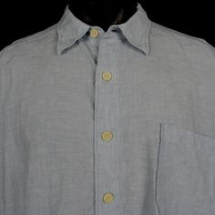 TOMMY BAHAMA 1XB 100% Linen Shirt Light Blue Button Front Long Sleeved Big Tall #TommyBahama #ButtonFront