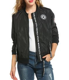 Zeagoo Women Classic Solid Biker Jacket Zip Up Bomber Jacket *** Want to know more, click on the image.