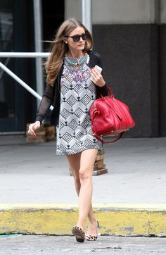 Olivia Palmero printed dress red handbag statement necklace