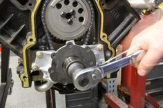 A quick and simple way to set the oil pump clearance on stock pumps around the crankshaft drive is to mount the pump and install all four mounting bolts hand tight. Then rotate the engine a minimum of 720 degrees and torque the mounting bolts to 18 lb-ft.