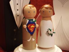 Superman and his Bride Custom Wedding Cake Topper Superman Cake Topper, Superhero Cake Toppers, Custom Wedding Cake Toppers, Wedding Topper, Wedding Cakes, Momiji Doll, Marrying My Best Friend, Here Comes The Bride, Wedding Inspiration