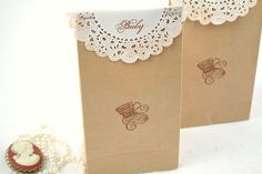 doilies as gift bag topper