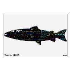 London Text Design I Wall Decal Salmon