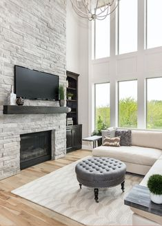 The 'Bailey' by Roeser Homes is an exceptional plan that offers plenty of space for the entire family. Family Room Fireplace, Home Fireplace, Fireplace Remodel, Fireplace Surrounds, Fireplace Design, Fireplace In Dining Room, Fireplace Moulding, Two Story Fireplace, Fireplace Windows