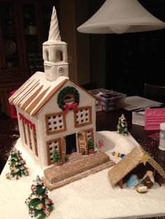 Gingerbread church with nativity- front view 2011