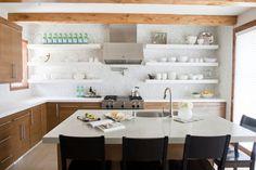 white floating shelves.