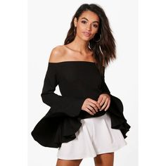 Boohoo Skyler Woven Bardot Flare Sleeve Top ($40) ❤ liked on Polyvore featuring tops, bralette crop top, bralette tops, flat top, cami top and camisole tops