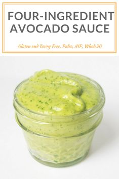 Four-Ingredient Avocado Sauce does double duty as a sandwich spread sauce for your favorite veggies or meat you can even thin it out to use as a salad dressing. Make ahead less than 5 minutes to make and is AIP compliant paleo vegan nut egg gluten Avacado Sauce, Avocado Cream Sauces, Guacamole Sauce, Fish Taco Sauce, Creamy Avocado Sauce, Avocado Dessert, Avocado Spread, Avocado Toast, Avocado Recipes