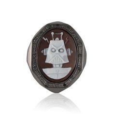 Amedeo Jewelry Black Diamond Robot Cameo Ring