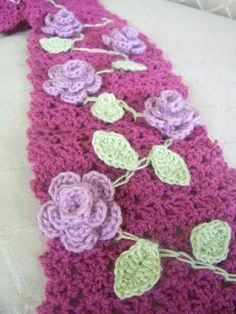 CROCHET PATTERN Rose Garden Scarf Pattern PDF by hollanddesigns