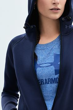 Wear your layers boldly. The UA Luster Hoodie + Threadborne Sportsyle Crew are the perfect pair.