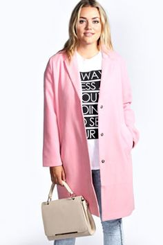 Winter's coming! And you really can't pin too many pink coats right? And plus size! And this one's only $80! Clarabelle Longline Oversized Boyfriend Coat at boohoo.com
