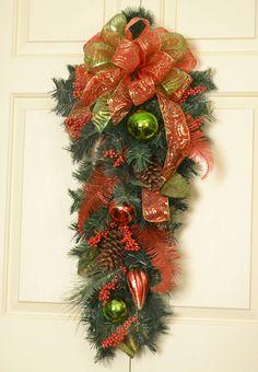 New Christmas Door Swag for 2013. #XmasDecor. Do  instead of typical wreath.