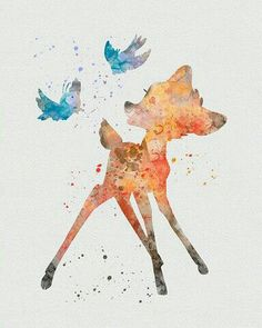 Who made this beautiful watercolor paint of Bambi❤️ the Disney movie i saw. Disney Pixar, Disney And Dreamworks, Disney Art, Disney Characters, Bambi Disney, Images Disney, Disney Pictures, Watercolor Disney, Watercolor Art