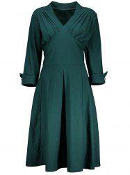V Neck A Line Plus Size Tea Length Dress