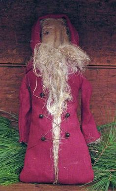 handmade prim old world santa wool