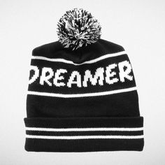 """Dreamer"" Pom Pom Beanie Tiny Whales AW14 ""Dreamers Collection"" Made in Sunny Los Angeles CA"