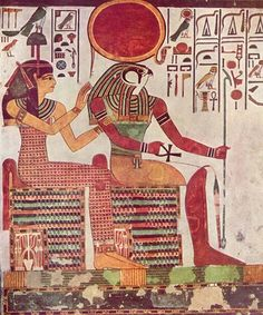 IMENTET and RA from the tomb of NEFERTARI, 13th century BC. The birth of the concept of a Pharaoh emerged in which the king was no longer just a civil ruler but a part of the divinity – the godhead to be precise. The new god-king ruled in conjunction with Ra, or Amen-Ra, and he was often depicted as a powerful man with a falcon head nested upon his head with cobra surrounding the sun.