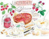 Linzertorte recipe print, Kitchen wall art, Austrian bakery poster, Watercolor food, 8X10 Kitchen decor, Raspberry pie print, Food painting