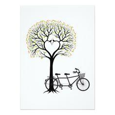 Valentine's Day Wedding Invitation Wedding invitation heart tree with tandem bicycle