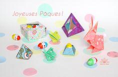 Happy Easter ! Origami pour la fête de pâques réalisé par Atelier Des Nautes avec de jolis papiers de Mon Petit Art.