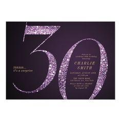 Modern minimalist purple glitter 30th birthday invitation Adult Birthday Party, 30th Birthday Parties, 80th Birthday, Surprise Birthday, Birthday Ideas, Glitter Birthday, Elegant Invitations, Invitation Design, Custom Invitations