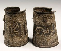 Africa   Bronze anklets from Benin; decorated with crocodile, lizard and snakes, with geometric borders   550$ ~ Sold (Mar 2013)