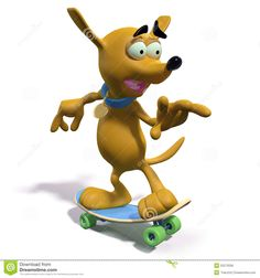 3d rendering of a funny cartoon dog riding a skateboard.