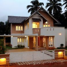 Property in Kerala is a hot topic. Wealthy NRIs as well as middle class Malayalees are hot on the hunt for new land to build their dream homes or move into existing ones. Indian Home Design, Kerala House Design, Indian House Exterior Design, Village House Design, House Front Design, Kerala Traditional House, Traditional House Plans, Modern Bungalow House, Modern Houses