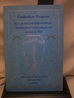 Vintage 1943 The Infantry School Fort Benning Georgia Graduation Program Book