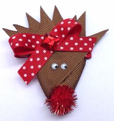 Rudolph the Rednose Reindeer  Girls hair bow clip by CreateAlley