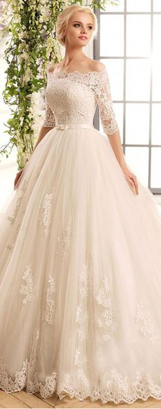 Marvelous Tulle & Satin Off-the-shoulder Neckline Ball Gown Wedding Dresses With Lace Appliques #weddingdressstyles