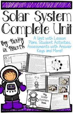 This unit contains 93 pages to help you teach about the Solar System. It covers the following topics: Solar System, The Sun, The Planets, Our Moon and Its Phases, Other Moons, Asteroids, Comets and Meteoroids, Black Holes and Stars.The unit is divided into 11 different lessons. There are lesson plans for each lesson as well as student recording pages. A pre-assessment and a post-assessment with answer keys are also included.