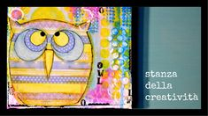 mixed media canvas: owl