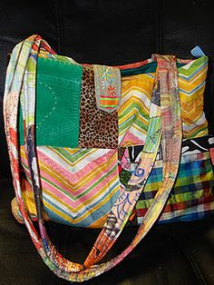 colorful tote bag purse with chevron