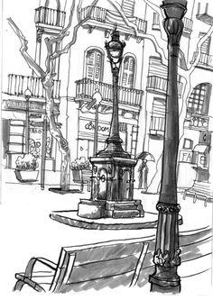 barcelona's sketchcrawl - 38 Raincrawl Sant Andreu Illustrators, Urban Sketching, Sketches, Sketch Book, Arts Barcelona, Illustration, Painting, Black And White, Face Drawing