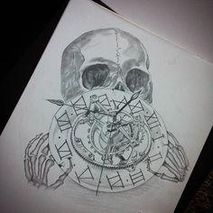 This clock was killing me but it's far done for now.. #tattoo #tattooartist #tattedup #draw #drawing #sketch #mechanicalpencil #graphitedrawing #graphite #blackandwhite #tourbillon #watch #movement #tattoodesign #skull #skulltattoo by tvwaard